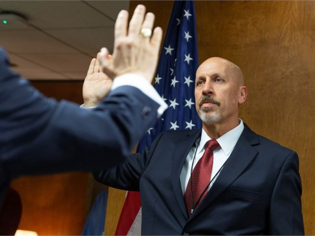 The Senate recently confirmed two new members - Michael Graham, who is shown being sworn in here on Jan. 3, and Thomas Chapman - for the National Transportation Safety Board. Photo courtesy James Anderson/NTSB