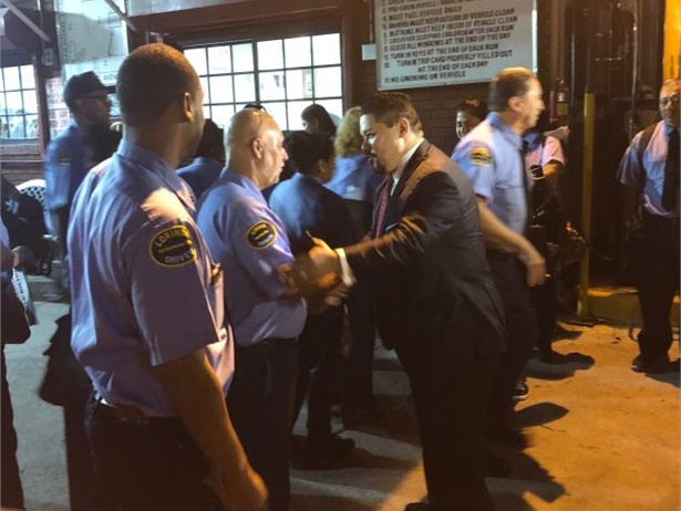 Richard Carranza, the new chancellor for the New York City Department of Education, greeted Logan Bus Co. drivers at the company's headquarters on the first day of school.