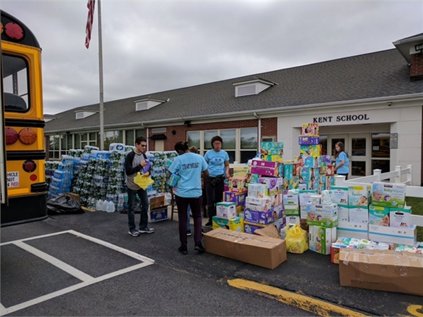 Carmel Central School District partnered with community organizations and businesses and filled three buses with donations for Hurricane Maria victims. Photo courtesy Carmel Central School District