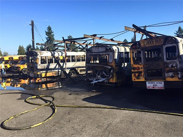 A fire at a bus facility at Puyallup (Wash.) School District damaged more than 28 new school buses. Photo by Puyallup Police Department