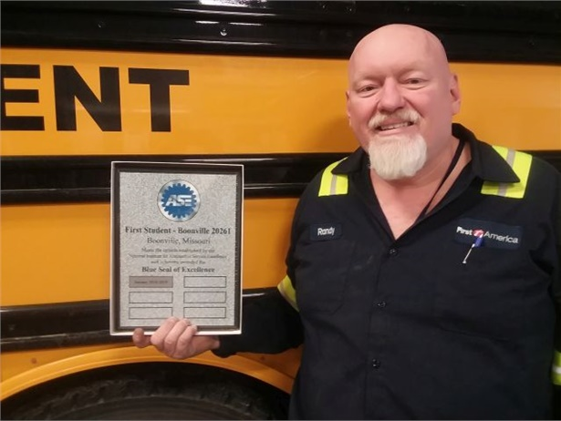 Randy Stephenson, a maintenance technician at First Student's Boonville, Missouri, location, earned the Automotive Service Excellence (ASE) Master Technician certification. The shop he works at recently earned the ASE Blue Seal of Excellence certification, shown here.