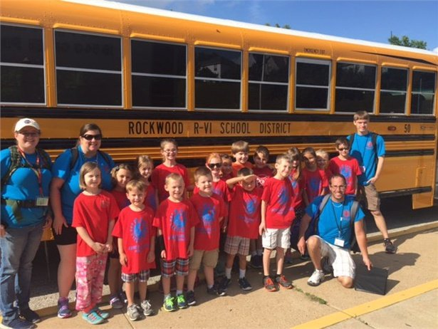 These students from Green Pines Elementary were the first to ride on Rockwood School District's new fleet this summer. Photo courtesy Rockwood School District