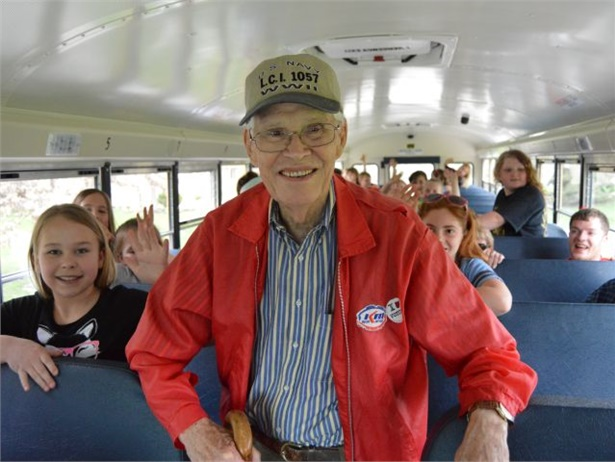 Roger Timmons, who served in the South Pacific during World War II, fulfilled a lifelong dream to ride a yellow bus, courtesy of Ohio's Indian Lake Schools.