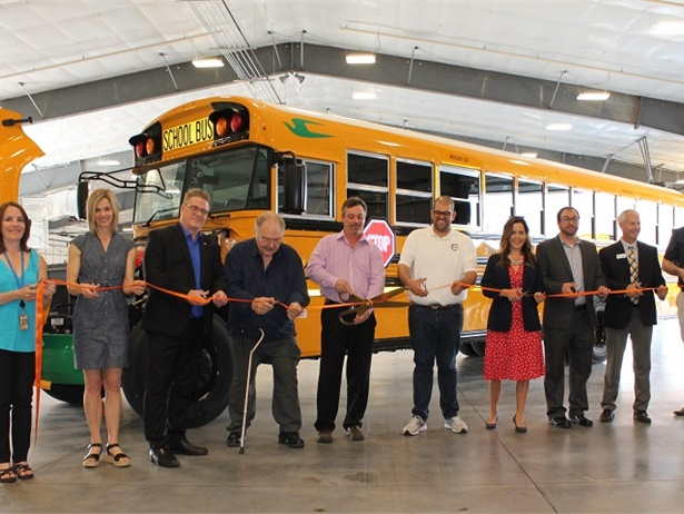 West Fargo (N.D.) Public Schools unveiled the district's and the state's first electric school bus during a ribbon-cutting ceremony on Monday. Photo courtesy West Fargo Public Schools