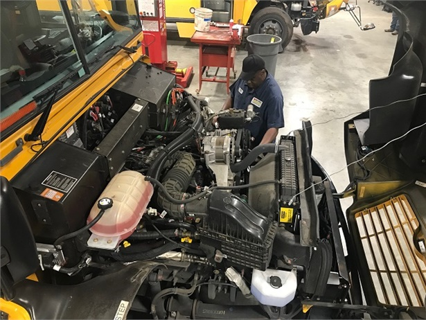 Bibb County (Ga.) School District's 97 propane buses have yielded a more than 28% reduction in fuel costs compared to its 103 diesel buses. Photo courtesy Bibb County School District