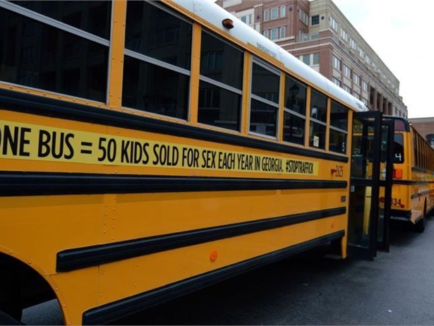 As part of a campaign to raise awareness of human trafficking, Gwinnett County(Ga.) Public Schools supplied and wrapped 72 of its buses, each intended to represent 50 of the 3,600 children who are traffickedin the state each year.