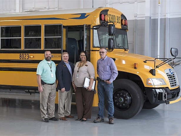 The maintenance department at Cobb County School District has made great strides to cut costs and boost efficiency. Shown here second from the left is Rick Grisham, executive director of transportation, with his maintenance administrative team.