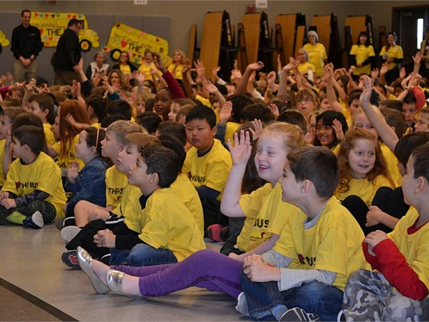 """At ASBC's Love the Bus 2016 main event, students at Cosumnes River Elementary in California wore yellow T-shirts and, at one point, screamed """"We love the bus!"""""""