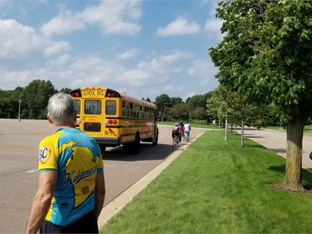 Kalamazoo (Mich.) Public Schools' transportation department held a symposium on school buses and bicycles sharing the road. Law enforcement officers, state transportation safety specialists, members of the local bicycle club, and a city planner also participated. Photo courtesy David Rank