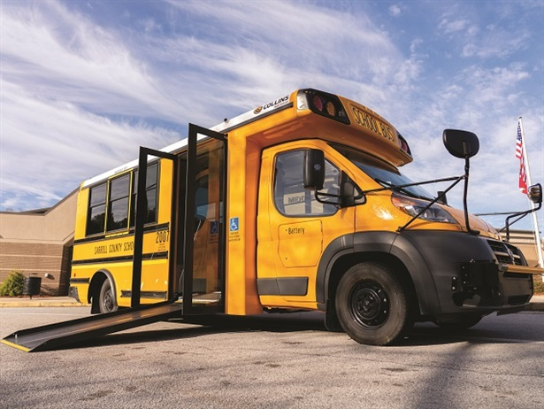 Instead of a wheelchair lift, the Low-Floor Bus includes an integrated wheelchair ramp accompanied by a wide service door that all students use. Shown here is Carroll County (Ga.) School System's new Low-Floor Bus.