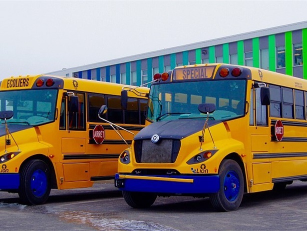 Lion Bus plans to add a new electric bus manufacturing facility in California, with support from the state and Quebec. Shown here are two eLion buses in Quebec.
