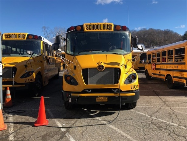 White Plains (N.Y.) City School District works with school bus contractor National Express to operate five Type C Lion Electric Co. buses.