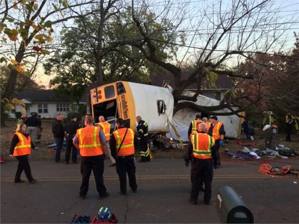 One response to the fatal school bus crash in Chattanooga, Tennessee, in 2016 is a grant to help school transportation providers in the state pay for buses equipped with seat belts. Photo courtesy Chattanooga Fire Department