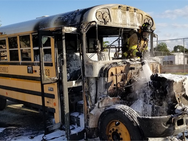 The driver withBroward County (Fla.) Public Schools safely evacuated 16 students from the bus after it caught fire. Photo courtesy TamaracFire RescueBattalion Chief Eric Viveros