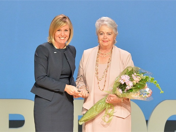 Henry County Schools Superintendent Dr. Mary Elizabeth Davis (left) presented special-needs driver Darlene Campbell with the HERO Award at theboard of education's annual Harvest of Heroes event on Oct. 25. Photo courtesy Henry County Schools