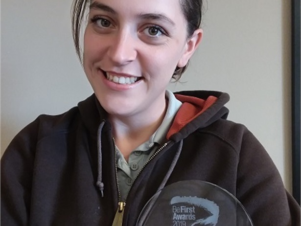 Katee Horner, a driver for Helena (Mont.) Public Schools, received second place in First Student's 2019 Be First Awards after purchasing reflective safety belts for students to wear at their school bus stops. Photo courtesy Bevann Hamill