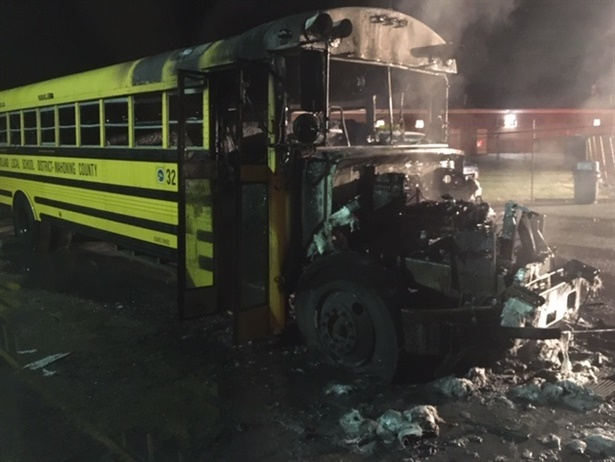 The fire reportedly started in the engine compartment of the Poland (Ohio) Local Schools bus. No one was on board the bus whenit caught fire. Photo courtesy Western Reserve Joint Fire District