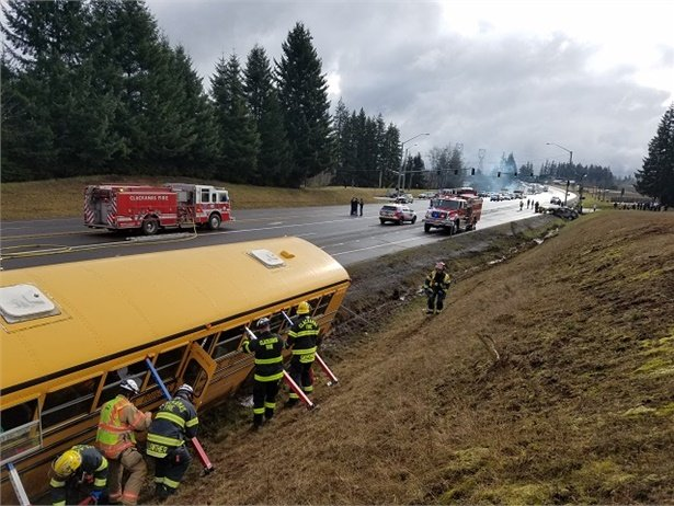 The David Douglas (Ore.) School District bus was transporting middle school students from a band performance when it was involved in a crash with two other vehicles. Photo courtesy Oregon State Police