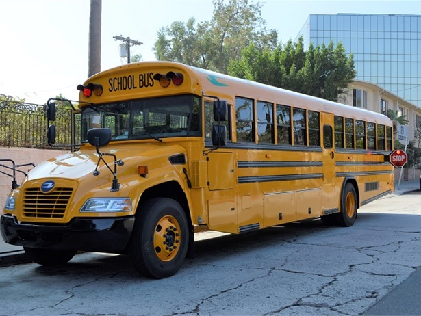 Roush CleanTech's California Road Showincluded educational sessions and a ride-and-drive of a Blue Bird Vision propane school bus (shown here), among other propane-powered vehicles.