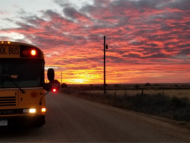 Tina Pearson, Swink (Co.) School District's transportation director, captured the pink and orange hues of the sky as one of the district's school buses completed its morning route.