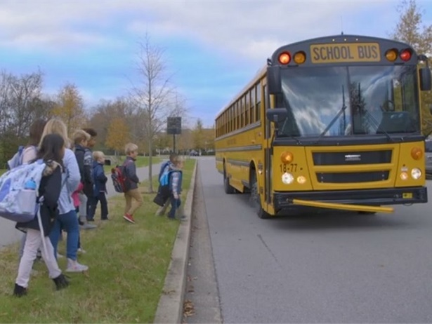 """Williamson County (Tenn.) Schools teamed up with local law enforcement agencies to release a series ofPSAs addressing school bus safety concerns. The screenshot above is fromthe """"It's Yellow for a Reason"""" PSAposted on the district'sFacebook page."""