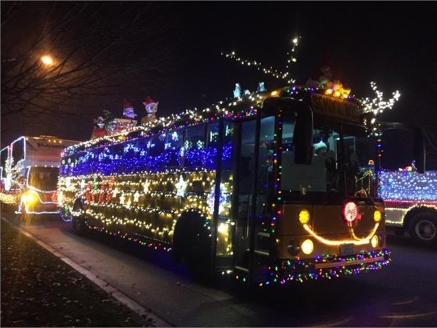 One of Sunnyside (Wash.) School District's buses joined the lineup in the Sunnyside Lighted Farm Implement Parade on Dec. 2.