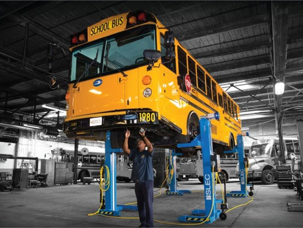 Vehicle lift supplier and manufacturer SLEC Inc. has made some recent updates to its lifts. Shown here is the 12 Type lift, which is specifically suited for school buses.