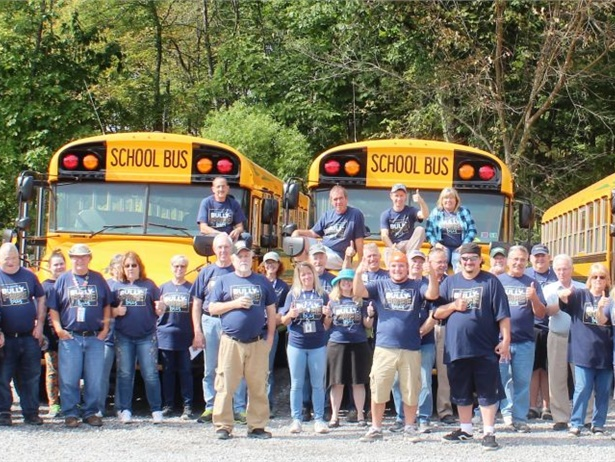 """STI's """"Bully-Free Buses"""" campaign starts with Blue Shirt Day. Shown here are employees at STA Pine-Richland in Gibsonia, Pennsylvania, wearing blue shirts as a symbol of unity against bullying."""
