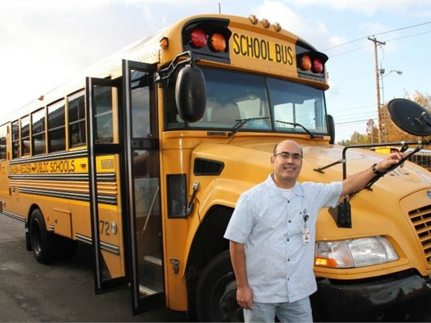 Salem-Keizer Public Schools has raised the starting wages for its bus drivers and other pupil transportation employees in an effort to boost recruitment and retention. Shown here is bus driverJose Gutierrez. Photo courtesy Salem-Keizer Public Schools