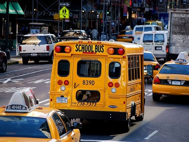 The New York City Department of Education has teamed up with ridesharing company Via to launch a new school bus routing, tracking, and communication platform, in addition to installing GPS systems on all of its school buses. File photo courtesy Katrina Falk