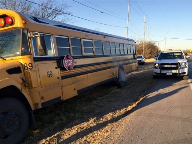 As a pickup truck approached, the driver of this Somerset (Texas) ISD school bus made an evasive maneuver that prevented a potentially worse outcome, officials say. Photo courtesy Somerset ISD