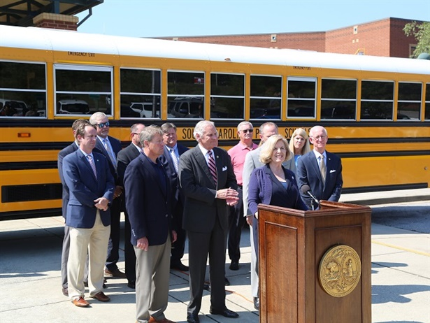 The state announced that it will use $9.33 million of its Volkswagen settlement funds to purchase a total of 78 new propane school buses and three transit buses. Photo courtesy South Carolina Department of Education