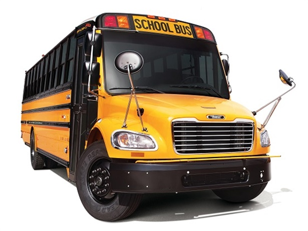 The new Detroit DD5 and DD8 engines now include an extended warrantysolely fortheir aftertreatment systems. Shown here is Thomas Built Buses' Saf-T-Liner C2 school bus equipped with the Detroit DD5 engine. Photo courtesy Daimler Trucks North America