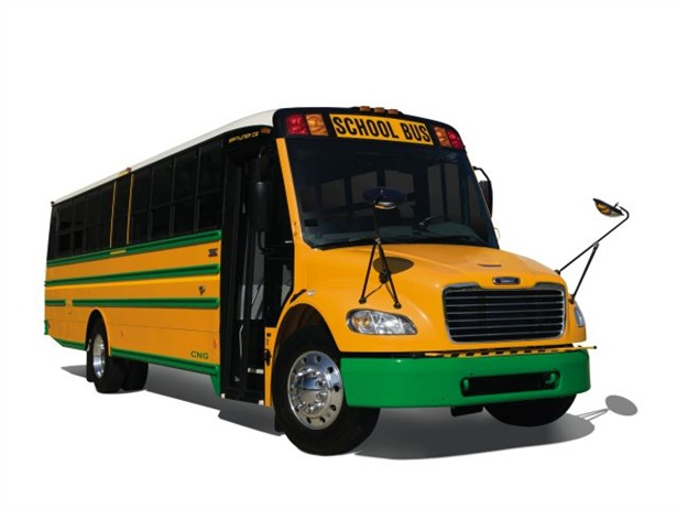 Orders can now be placed for Thomas Built's first Type C school bus powered by compressed natural gas.