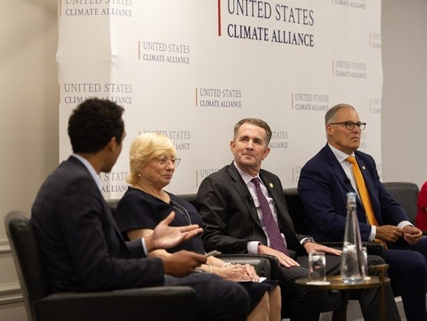 Gov. Ralph Northam (third from left) announcedVirginia's third round of VW funding during a Climate Week NYC event hosted by the U.S. Climate Alliance. Photo courtesy Office of Gov. Northam