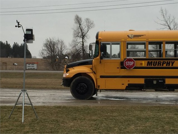 Huron Perth Student Transportation Services worked with Schneider Electric to install weather stations at bus operators' facilities, including the one seen here at Murphy Bus Lines.