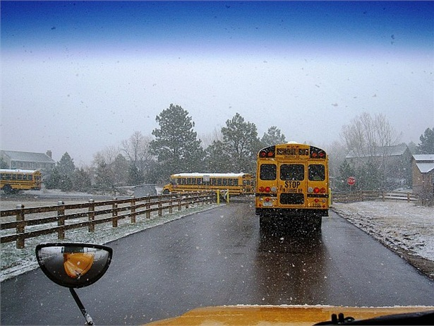 First Student's winter safety tips for students, parents and drivers include taking extra time in the morning, and slowing down and increasing following distance when driving. Photo by John Horton