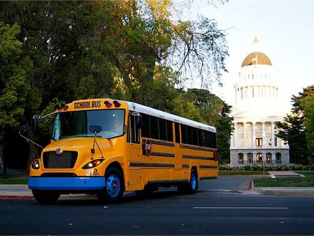 Eighteen southern California school districts will receive funds from the South Coast Air Quality Management District for up to two electric school buses each and charging infrastructure. Shown here is an eLion electric school bus.