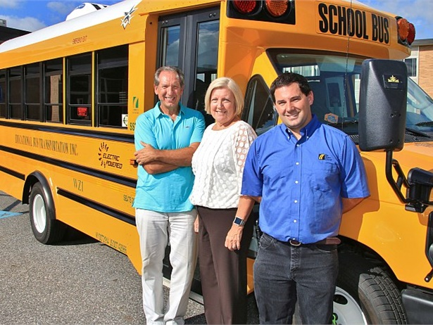 Educational Bus Transportation President Sean Corr (right) was joined by Copiague Public Schools Superintendent Dr. Kathleen Bannon and Assistant Superintendent Peter Michaelson to welcome the new electric bus to Copiague schools.