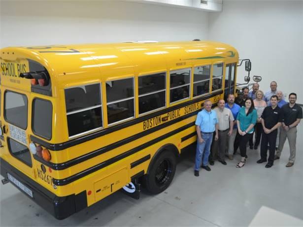 Boston Public Schools' new Blue Bird propane buses have a shorter 169-inch wheelbase and a 50-gallon tank to accommodate shorter runs.