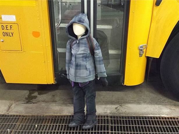 Bus driver Victoria DeCarlo created a driving course and used a dummy to re-enact how a student dragging may occur. She found that drivers experience visual challenges involving the stairwell, mirrors and door activation button placement. Photo by Victoria DeCarlo