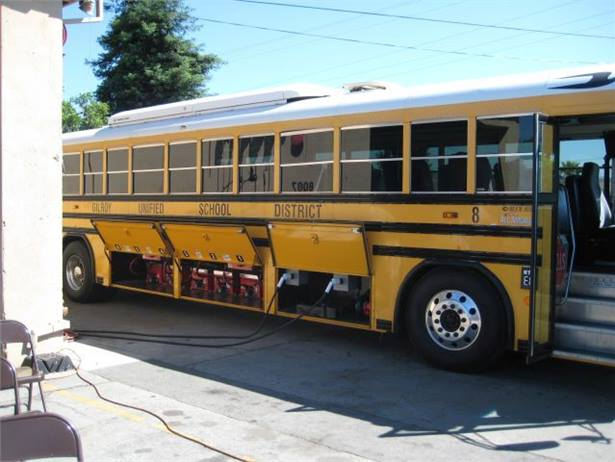 Adomani will supply A-Z Bus Sales with a drivetrain and components for retrofitting school buses to run on electricity. Pictured is an all-electric bus that Adomani converted for Gilroy (Calif.) Unified School District.
