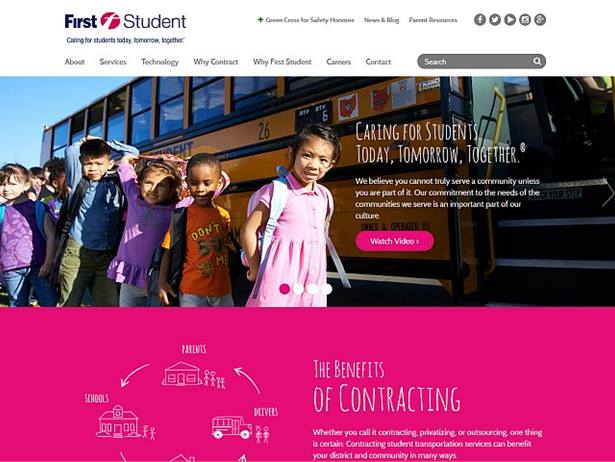 Featuring a responsive design, First Student's new website provides information to school districts about the benefits of contracting student transportation services and includes safety tips for parents.