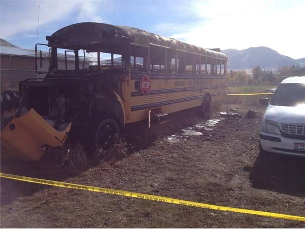 This wheelchair-accessible bus, which belongs to Horseshoe Bend School District, was set on fire last month. Photo by Idaho State Fire Marshal.
