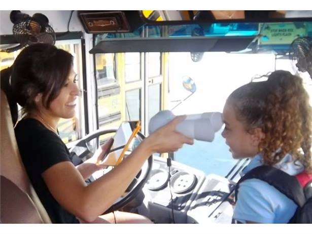 School bus drivers use the IRITRANS iris scanner to log students as they board and exit the bus.