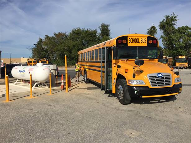 Jubb's Bus Service Inc. put the first propane school bus in the state into operation for the 2015-16 school year. Anne Arundel County students boarded the Blue Bird Vision Propane bus on Tuesday.