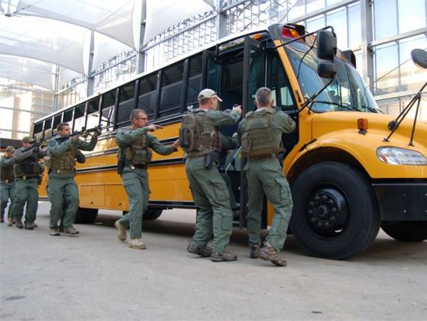 A live-action event at the NAPT Summit brought in a SWAT team to demonstrate a response to an active shooter on a school bus.