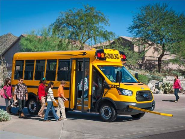 Production is underway for the Micro Bird T-Series, the first school bus on the new Ford Transit cutaway chassis.