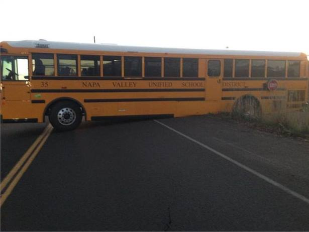 A Napa, California, school bus driver was transporting 28 students when her bus bottomed out while turning around. Photo courtesy CHP