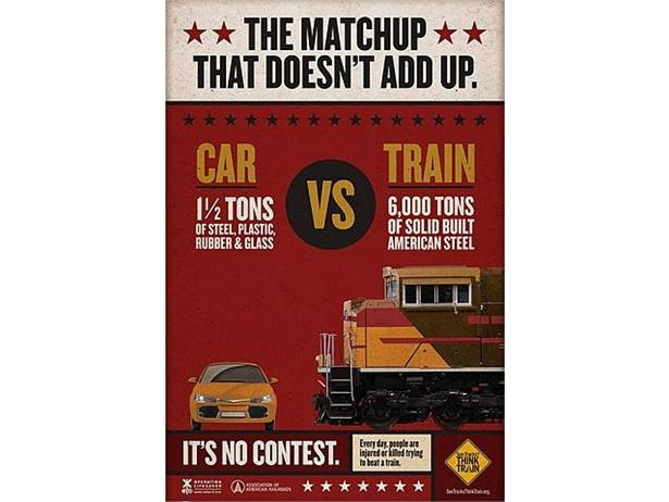 "Operation Lifesaver and the Federal Highway Administration have awarded over $200,000 in grants for rail crossing safety public education projects. Shown here is a poster from Operation Lifesaver's ""See Tracks? Think Train!"" campaign."